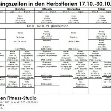 Trainingsplan für die Herbstferien