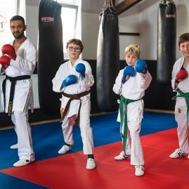 Karate Schüler Grün Blau Braun