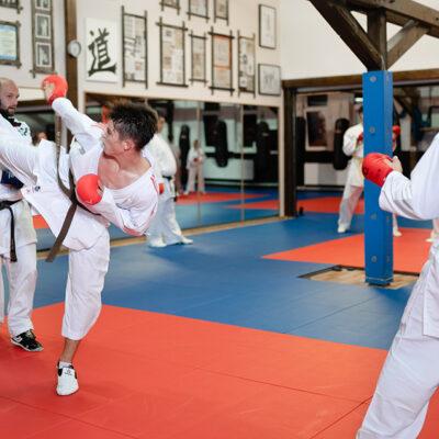 Karate Kumite Erwachsene mit Kick