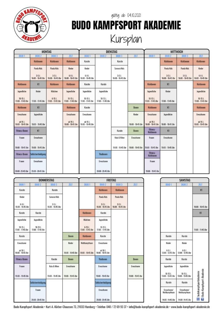 Der Aktuelle Kursplan der Budo Kampfsport Akademie